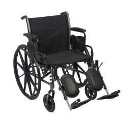 McKesson Lightweight Wheelchair with Flip Back, Padded, Removable Arm, Composite Mag Wheel, 20 in. Seat, Swing-Away Elevating Footrest, 300 lbs