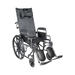 McKesson Reclining Wheelchair with Padded, Removable Arm, Composite Mag Wheel, 18 in. Seat, Swing-Away Elevating Footrest, 300 lbs