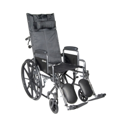 McKesson Reclining Wheelchair with Padded, Removable Arm, Composite Mag Wheel, 20 in. Seat, Swing-Away Elevating Footrest, 350 lbs