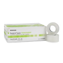 McKesson Non-Sterile Silicone Medical Tape, 1 Inch x 5-1/2 Yard, Transparent