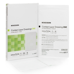 McKesson Silicone Wound Contact Layer Dressing, 4 x 7-2/5 in., Transparent