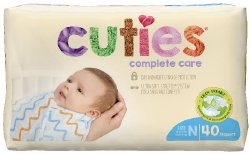 Cuties® Complete Care Diaper, Size 0, 40 per Package