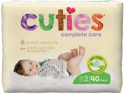 Cuties® Complete Care Diaper, Size 2, 40 per Package