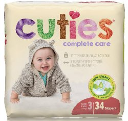 Cuties® Complete Care Diaper, Size 3, 34 per Package
