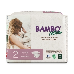 Bambo® Nature Baby Heavy-Absorbent Diaper, Size 2, White