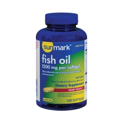 sunmark® 1200 mg Strength Fish Oil Omega-3 Supplement, 100 Softgels per Bottle