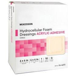 McKesson Lite Thin Silicone Foam Dressing, 4 x 4 Inch Pad