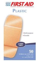 American® White Cross Rectangular Tan Adhesive Strip, 2 x 4 Inch