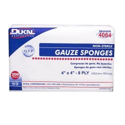 Dukal Square 8-Ply Non-Sterile Gauze Sponge, 4 x 4 Inch, 200-Pack