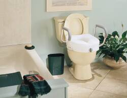 Carex® E-Z Lock™ Raised Toilet Seat W/Armrests