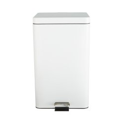Entrust™ Trash Can with Plastic Liner, White