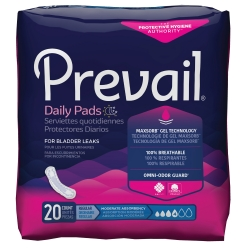 Prevail® Daily Pads Moderate Bladder Control Pad, 9¼-Inch Length