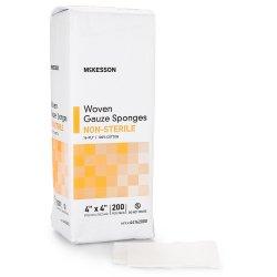McKesson Square Non-Sterile 16-Ply Cotton Gauze Sponge, 4 x 4 Inch, 200-Pack