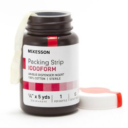 McKesson Sterile Cotton Iodoform Wound Packing Strip, 1/4 Inch x 5 Yard