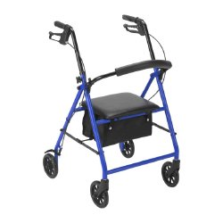 drive™ Go-Lite 4-Wheel Bariatric Rollator, 8 in. Wheel, 35.25 - 39.5 in. Handle, Blue, 500 lbs, Steel Frame