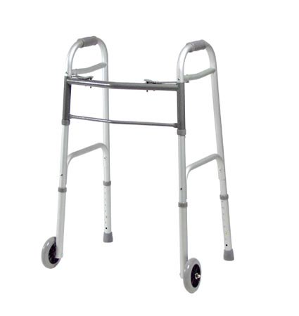 Lumex® Everyday Dual Release Folding Walker, 34.5 - 41.5 in., Silver, 300 lbs. Capacity, Aluminum