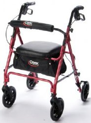 Carex® 4-Wheel Rolling Walker, 8 in. Wheel, 33.75 - 38.75 in. Handle, Burgundy, 250 lbs, Aluminum Frame