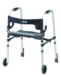 drive™ Clever-Lite LS Dual Release Folding Walker, 29.5 - 39 in., Silver, 300 lbs. Capacity, Aluminum