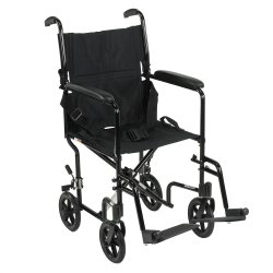 drive™ Lightweight Transport Chair, 17 in. Seat, Aluminum, 300-lb capacity