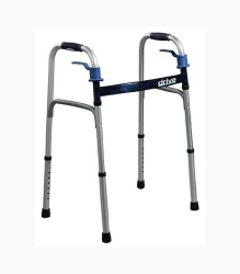 drive™ Deluxe Dual Release Folding Walker, 32 - 39 in., Flame Blue, 350 lbs. Capacity, Aluminum