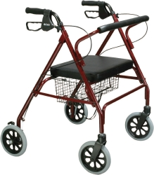 drive™ Go-Lite 4-Wheel Bariatric Rollator, 8 in. Wheel, 35.25 - 39.5 in. Handle, Red, 500 lbs, Steel Frame