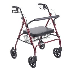 drive™ Go-Lite 4-Wheel Bariatric Rollator, Red