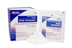 Dukal Square Sterile Nonwoven 4-Ply Polyester/Rayon Sponge, 4 x 4 in., 5-Pack