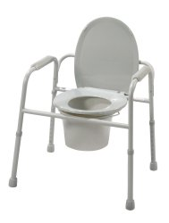 Drive™ Deluxe All-In-One Welded Steel Commode with Plastic Armrests