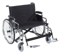 drive™ Sentra EC Heavy-Duty, Extra-Extra-Wide Wheelchair with Padded, Removable Arm, Steel Spoke Wheel, 26 in. Seat, 700 lbs