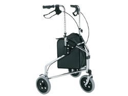 Merits 3-Wheel Rollator, 8 in. Wheel, 34 - 39 in. Handle, Blue, 250 lbs, Aluminum Frame