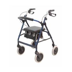 Merits 4-Wheel Rollator, 6 in. wheel, 32 - 36 in. Handle, Blue, 250 lbs., Aluminum Frame