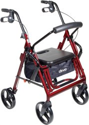 drive™ Duet 4-wheel rollator/Transport Chair, 8 in. Wheel, 31.5 - 37 in. Handle, Black, 300 lbs, Aluminum Frame