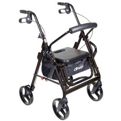 drive™ Duet 4-Wheel Rollator / Transport Chair, Black