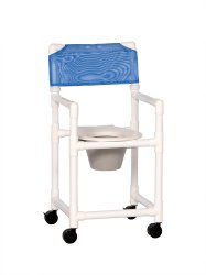 IPU Standard Commode / Shower Chair, 41 in. Height, Blue, 300 lbs. Capacity