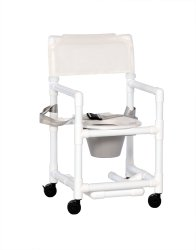 IPU Standard Commode / Shower Chair, 41 in. Height, White, 300 lbs. Capacity
