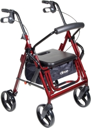 drive™ Duet 4-wheel rollator/Transport Chair, 8 in. Wheel, 31.5 - 37 in. Handle, Blue, 300 lbs, Aluminum Frame