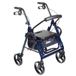 drive™ Duet 4-Wheel Rollator / Transport Chair, Blue