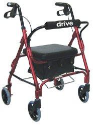 drive™ Deluxe Red 4-Wheel Junior Rollator