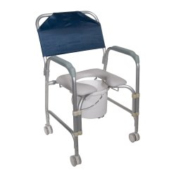 drive™ Aluminum Shower Chair and Commode with Casters, 21 in. Height, 300 lbs. Capacity