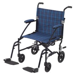 drive™ Fly-Lite Ultra Lightweight Transport Wheelchair, Blue with Blue Finish