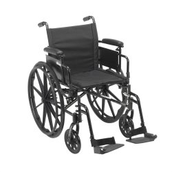 drive™ Cruiser X4 Lightweight Wheelchair with Flip Back, Padded, Removable Arm, Composite Mag Wheel, 16 in. Seat, Swing-Away Footrest, 300 lbs
