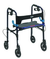 drive™ Clever-Lite 4-Wheel Rolling Walker, 8 in. Wheel, 35 - 39 in. Handle, Blue, 300 lbs, Aluminum Frame