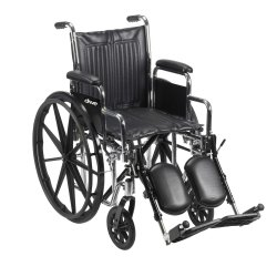 drive™ Chrome Sport Standard Wheelchair with Padded, Removable Arm, Composite Mag Wheel, 18 in. Seat, Swing-Away Elevating Legrest, 300 lbs