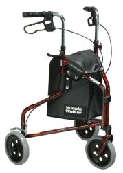 drive™ Winnie Lite Supreme/Go Lite 3-Wheel Rollator, 7.5 in. Wheel, 32 - 38 in. Handle, Tan Plaid, 300 lbs, Aluminum Frame