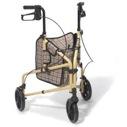 drive™ Winnie Lite Supreme/Go Lite 3-Wheel Rollator, 7-1/2 in. wheel, 32 - 38 in. Handle, Tan Plaid, 300 lbs., Aluminum Frame