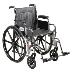 drive™ Sentra EC Heavy-Duty Wheelchair with Padded, Removable Arm, Composite Mag Wheel, 20 in. Seat, Elevating Legrest, 450 lbs
