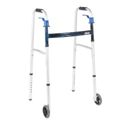 drive™ Trigger Release Folding Walker, 32 - 39 in., Flame Blue, 350-lb capacity, Aluminum