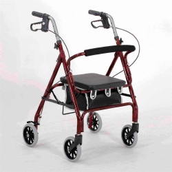 Merits 4-wheel rollator, 6 in. Wheel, 28 - 31 in. Handle, Blue, 250 lbs, Aluminum Frame