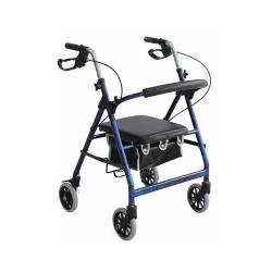 Merits 4-Wheel Rollator, 6 in. wheel, 28 - 31 in. Handle, Blue, 250 lbs., Aluminum Frame