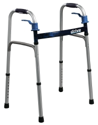drive™ Deluxe Trigger Release Folding Walker, 32 - 39 in., Flame Blue, 350 lbs. Capacity, Aluminum
